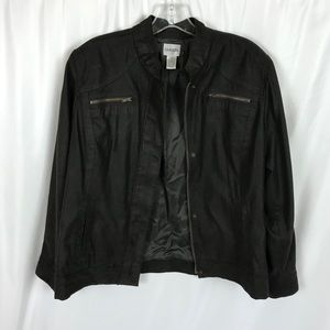 Chico's faux suede brown bomber jacket